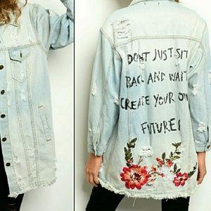 Distressed Embroidered Denim Jean Jacket